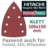 Hitachi–753429Schleifpapier Schleifblätter Raumfahrt-Typ Delta 100x 150mm Korn 320mit Klettverschluss (10Stück)