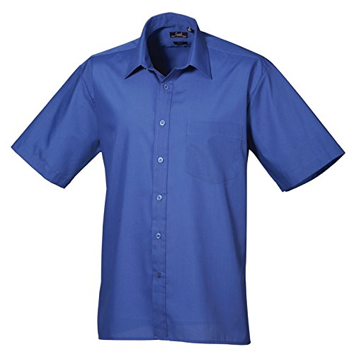 Premier Workwear Herren Businesshemd Poplin Short Sleeve Shirt Königsblau