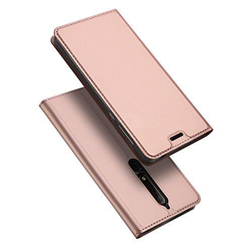 DUX DUCIS Nokia 6 2018 Hülle,Nokia 6.1 Hülle, Handyhülle [Standfunktion] [Kartenfach] [Magnetverschluss] Ultra Dünn Flip Cover,Ledertasche Schutzhülle für Nokia 6 2018 / Nokia 6.1 (Rose Golden)
