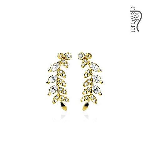 Tapsi´s Coolbodyart® Damen Ear-Crawler Ohrmanschette Ohrklemme aus Messing rhodiniert , Blätter in gold mit klaren Zirkonia