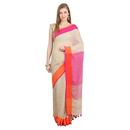 The Weave Traveller Women Linen Saree With Blouse Piece (Twt_L_Beigepnk_144_Beige)