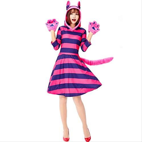 Halloween Kostüm Märchen Niedliche - HG-amaon Halloween-Tierkostüm, Märchen-niedliches lila gestreiftes Katzen-Cosplay-Kostüm L Lila-Blaue Streifen