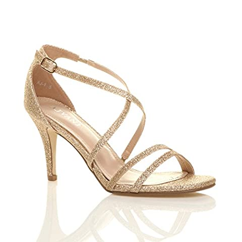 WOMENS LADIES MID HIGH HEEL STRAPPY CROSSOVER WEDDING SANDALS SHOES SIZE 6 39