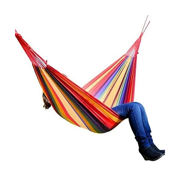 Ourine Portable Canvas Hammock, Camping Sleeping Swing Bed Hanging Backyard Garden Indoor Outdoor Hammock with Storage Bag Ourine The portable outdoor camping hammock can be taken to anywhere. Perfect for camping, backpacking, hiking, travelling. Its even great in your own garden patio backyard. Sturdy construction with durable canvas,wear-resisting,anti-tear,safe, soft and comfortable, can hold at most 150kg. Easy to fold and storage, can be used as mat,dampproof mat, picnic mat and so on. 8