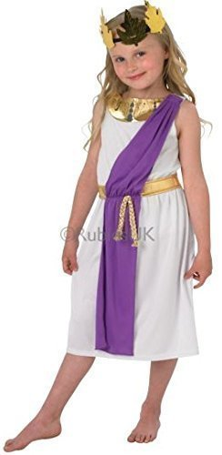 iß Lila Gold Römische Toga Party Kostüm Outfit 3-8 Jahre - Weiß, 5-6 years (Toga Outfits)