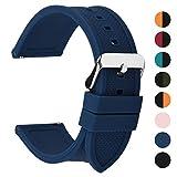Fullmosa Silikon Uhrenarmband 24mm mit Schnellverschluss in 8 Farben, Regenbogen Weich Silikon Uhrenarmband mit Edelstahlschnalle,24mm Dunkelblau