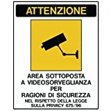 CARTELLO ADESIVO 20X30CM 'AREA SOTTOPOSTA A VIDEOSORVEGLIANZA' [591EFVD4]