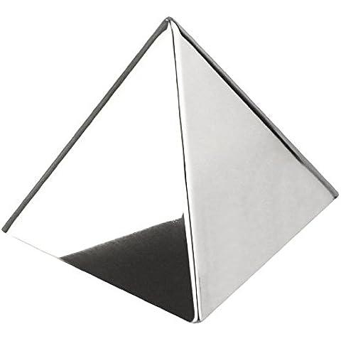 Pirámide del molde de acero inoxidable. Dimensiones: 87.4 x 87.4 x 87.06mm.
