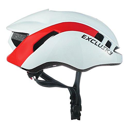 Exclusky Erwachsene Fahrradhelm 56/61cm (weiß Rot) - 5