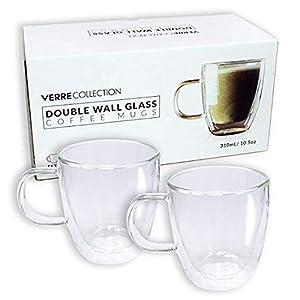 Double Wall Glass Espresso Latte Cappuccino Nespresso Dolce Gusto Mug, Coffee Cup | Set of 2