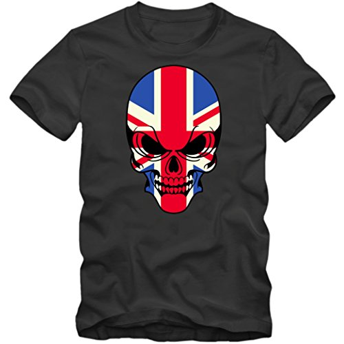Union Jack Skull T-Shirt | England Totenkopf Shirt |Großbritannien |UK |Tee © Shirt Happenz Dunkelgrau (Dark Grey)