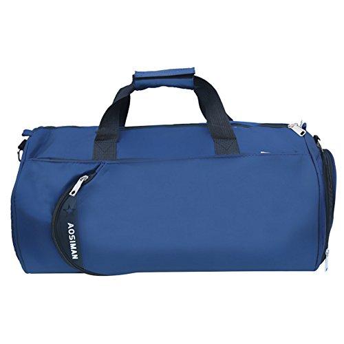 Eshow Borsa Duffel Sportiva Viaggio di Fine Settimana Weekend Borse Tote Nylon Palestra per Donne Blu