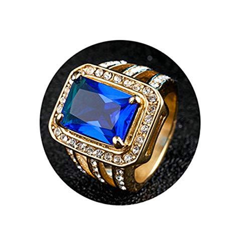 Daesar Edelstahl Männer Ring Partner Hochglanzpoliert Rechteck Blau Zirkonia Freundschaftsring Ring Edelstahlring Gold Gr.65 (20.7) (Lego Fallen Titan)