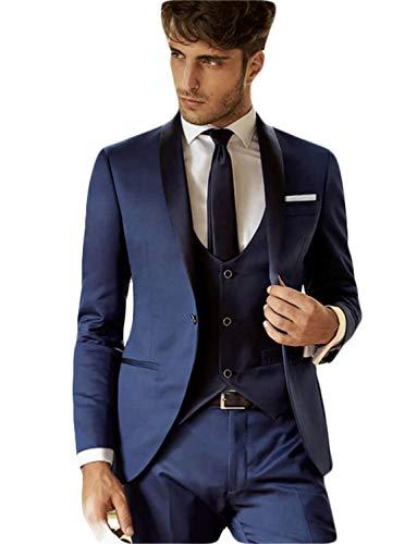 YZHEN Herren Slim Fit EIN Knopf Blazer mit 3-teiligem Anzug Kleid Geschäft Hochzeit Jacke Weste & ()