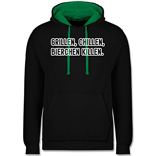 Grill - Grillen, chillen, Bierchen killen - Kontrast Hoodie Schwarz/Grün