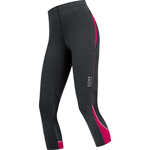 GORE RUNNING WEAR Damen 3/4 Lauf-Leggings, GORE Selected Fabrics, ESSENTIAL LADY Tights 3/4, Größe 38, Schwarz/Pink, TESSLS (Damen Lauf-hose)