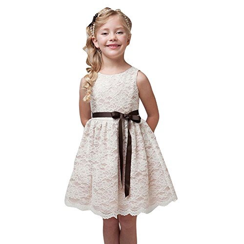 Girls Lace Party Knee Length Princess Dress with The Waist Band