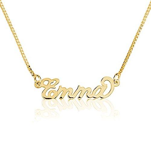 Namensanhänger aus 750er vergoldetem 925er Silber- Personalisiert mit Ihrem eigenen Namen! (50 cm)