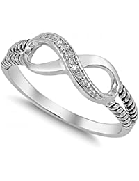 925 Sterling Silver Infinity Ring With Cubic Zirconia