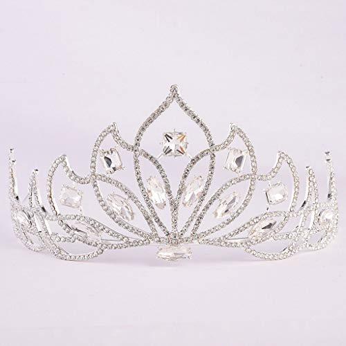 YQN-wedding Gold Tiara de Noiva Braut europäischen rot blau grün Crystal Crown Stirnband Hochzeit Tiara Schmuck Blume Haar Tiaras Kopfschmuck, weiß