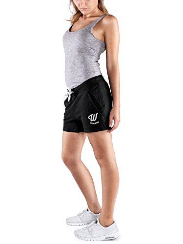 WOLDO Athletic Sweatshorts I Kurze Hose Damen I Frauen Sporthose Shorts I Hot Pants I Jogger kurz schwarz medium M