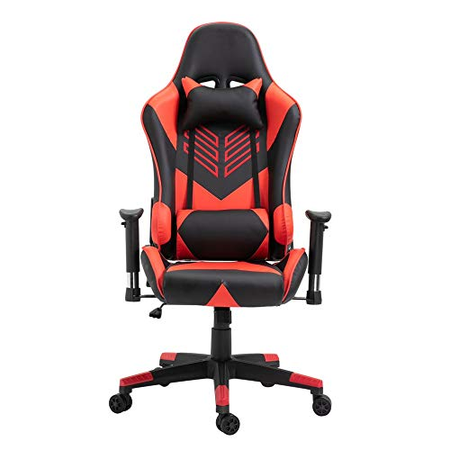 JICHUI Modernes Design Racing Gaming Bürostuhl Computer-Schreibtisch 360 Grad Stuhl Verstellbarer Sitz Büro-Schreibtisch-PC Leder-Stuhl(rot)