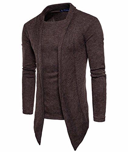 Idol Herren Long Sleeve Open Front Schal Kragen Pullover Strickjacke (Cardigan Schal Open Kragen)