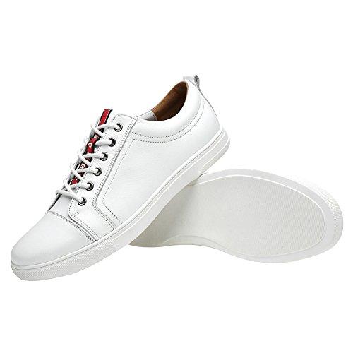 Jamron Unisexe Femmes Hommes Super Confort Cuir Véritable Low Top Baskets Blanc