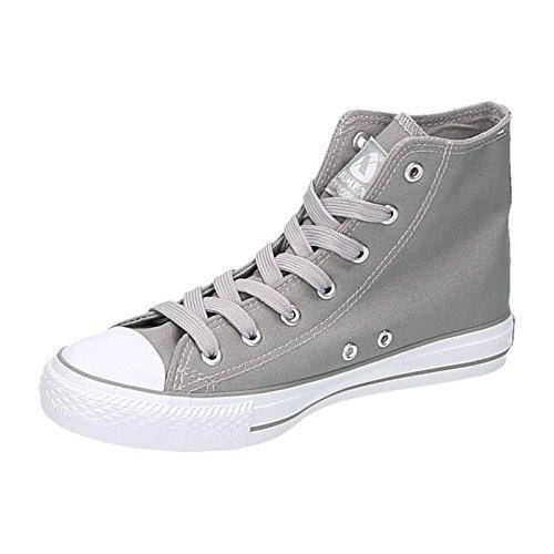 Damen Sneakers High Schnürer Stoffschuhe Freizeit mit Ösen Grau
