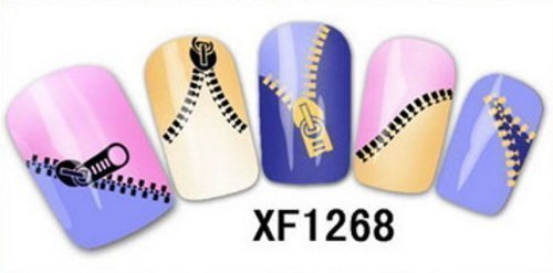 24 x Nail Art Zip Fermetures éclair Stickers Transferts NEUF