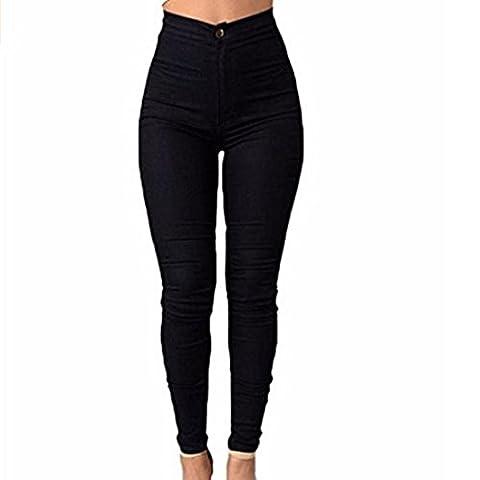 Vertvie Femme Pantalon Skinny Leggings Crayon Casual Stretch Taille Haute Extensible Doux (XL(XXL Asie sur l'étiquette), Noir)