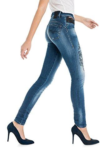 Salsa - Pantalons Push Up Wonder Slim avec Broderie - Femme Bleu