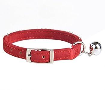 hukchi sûr en velours doux pour chat avec strass collier réglable avec clochettes, 27,9cm pour petits chiens et chats