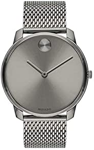 Movado Mens' Grey Dial Ionic Plated Grey Steel Watch - 360
