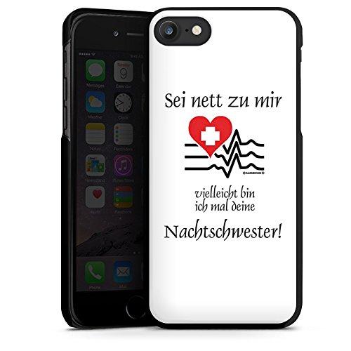 Apple iPhone 7 Silikon Hülle Case Schutzhülle Nachtschwester Krankenschwester Sprüche Hard Case schwarz