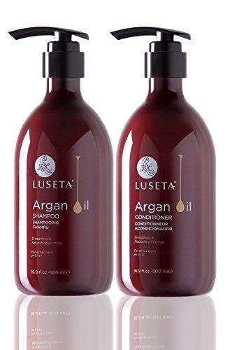 Luseta Shampoo und Pflegespülung mit Arganöl im Set, feuchtigkeitsspendend, auffüllend, glanzbringend, bei Haarschäden durch Hitze, Chemikalien, sulfat-, phosphat- und parabenfrei (Shampoo Und Conditioner Von Wen)