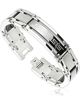 Paula & Fritz® Armband silber Edelstahl Chirurgenstahl 316L Tribal Logo Länge ...