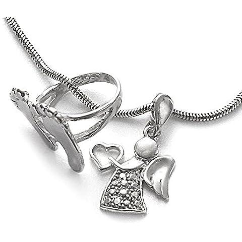 Incisione Nome per bambini piedini per battesimo anello con angelo custode ciondolo a cuore & Serpenti–Catena in argento 925& confezione regalo per battesimo #