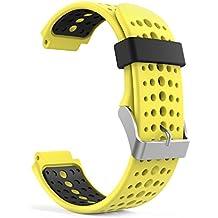 MoKo Forerunner 235 / 220 / 230 / 620 / 630 / 735 Correa - Reemplazo Suave Silicona Watch Band Deportiva Accessorios de Reloj Pulsera Ajustable con Cierre de Clip para Garmin Forerunner 235 Smart Watch, Amarillo & Negro