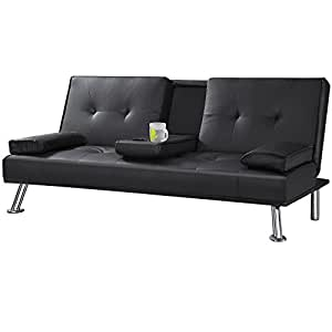 Tinkertonk Cheap Faux Leather Tv Cinema Sofa Bed On Chrome Legs With Pull Down Drinks Holder