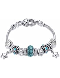 NEVI Handmade Fashion Czech Crystals Charm Bracelet Jewellery for Women and Girls (Blue & Silver)