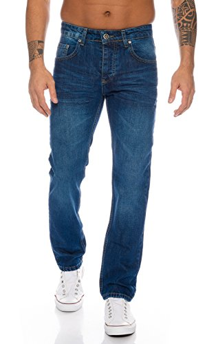 Lorenzo Loren Herren Jeans Hose Denim Jeans Used-Look Regular-Fit [LL328 - Blau - W36 L32] (Hose Jeans Blaue)