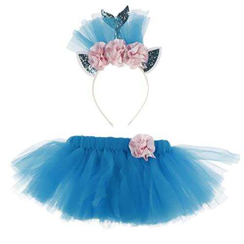 IPOTCH Kinder Meerjungfrau Kostüm Set mit Haarreif und Tutu Rock für Cosplay Party Themenparty Geburtstag und Taufe - L (Kostüm Tutu Meerjungfrau)