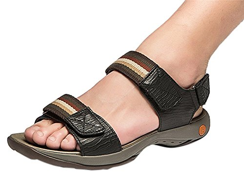 insun hommes en cuir de point sangle velcro Sandales Noir - noir