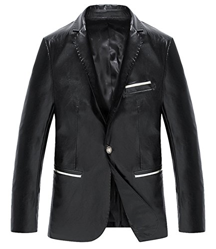 Hommes cuir Fit Entreprise cuir costume cuir veste Noir
