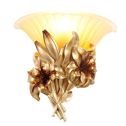 Lampe murale en résine européenne Living Room Chambre Lampe de chevet Corridor Lampe murale Lampe frontale Creative Nordic Mirror E27 (Golden Lily