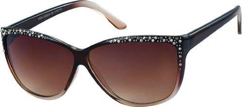 Damen Sonnenbrille mit Strass 80's retro Art. 8214-1 braun schwarz / braun
