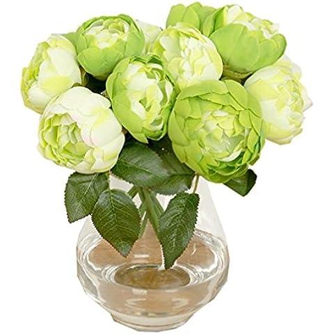 Fulltime® 1 Bouquet 6 capi peonia seta artificiale Fiore Foglia casa della festa nuziale della (Verde)