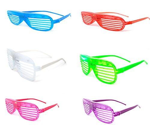 Ultra ® 1 x blinken Retro-LED-Brille für Erwachsene und Kids Parties Party-Events Raves Dance Clubs und Kostüm Parties Pink Green Blue purple weiß gefärbt Schlitz Farben Neuheit Brillen Glowing Leuchten