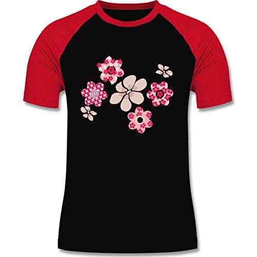 Blumen & Pflanzen - Blumen - zweifarbiges Baseballshirt für Männer Schwarz/Rot